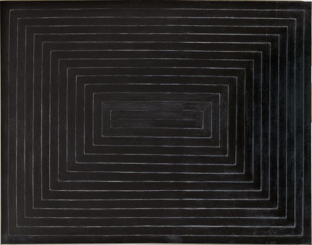 Frank Stella, Tomlinson Court Park I, 1959, Matt black enamel paint on canvas, 220 x 280 cm, Museum Folkwang Essen © Frank Stella. ARS, NY and DACS, London 2017 / Photo: Museum Folkwang Essen / ARTOTHEK