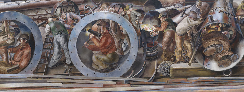 Detail of Riveters from the series Shipbuilding on the Clyde Stanley Spencer, United Kingdom, 1941, Imperial War Museum
