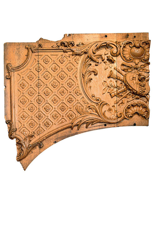 Wooden panel fragment from the first-class lounge on Titanic, c. 1911, Maritime Museum of the Atlantic, Halifax Nova Scotia, Canada