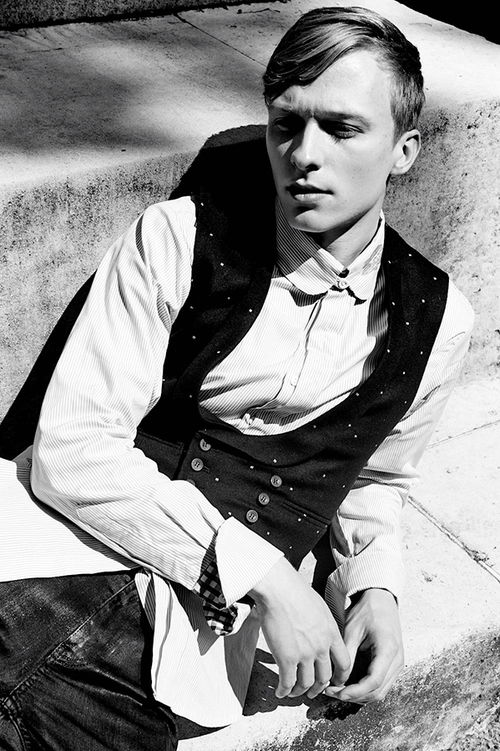 Will Tudor wears shirt by  Child of the Jago , waistcoat by  Joshua Kane Bespoke , jeans by  BLK DNM