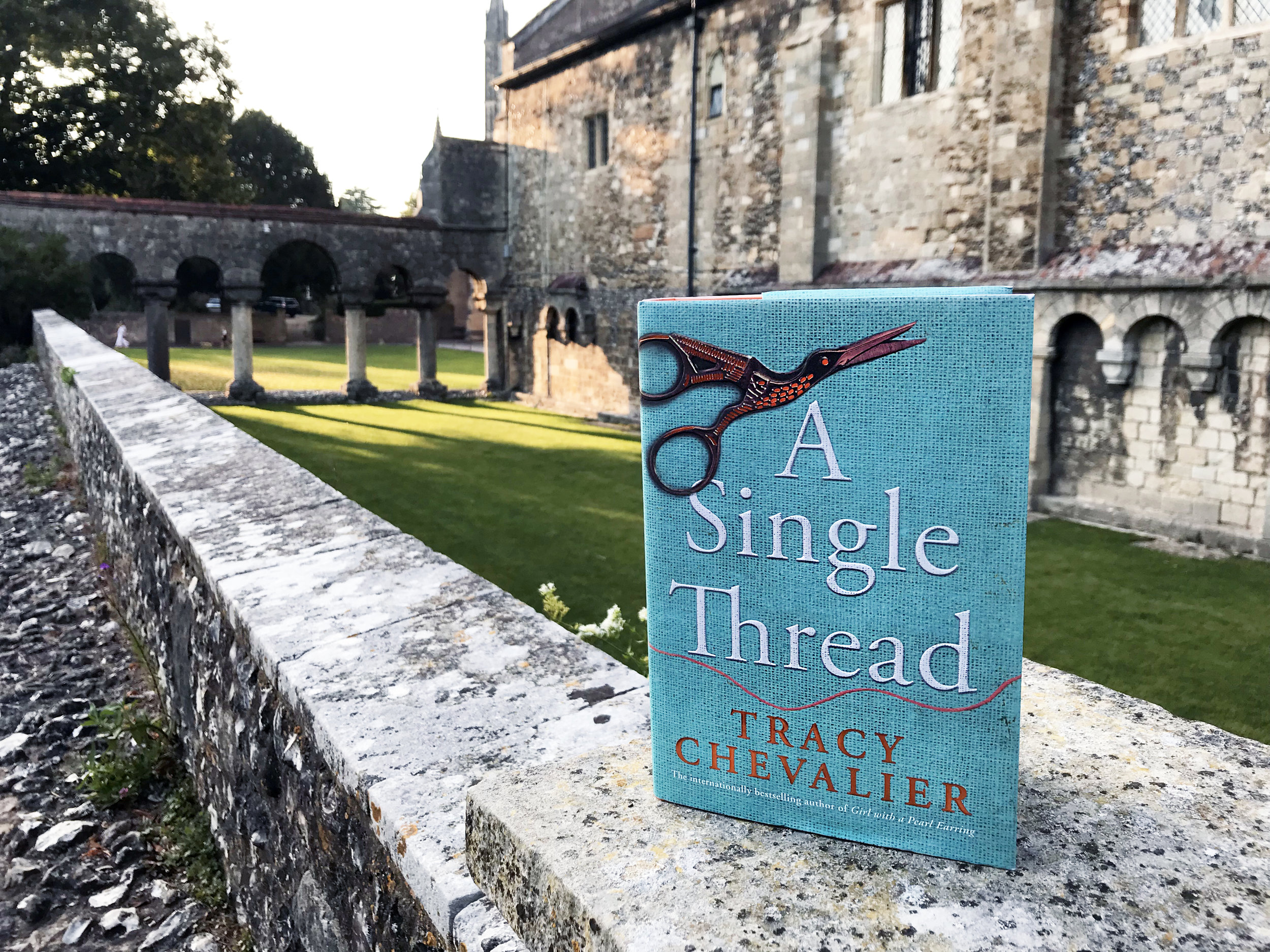 Tracy Chevalier's new novel photographed before the backdrop of Winchester Cathedral