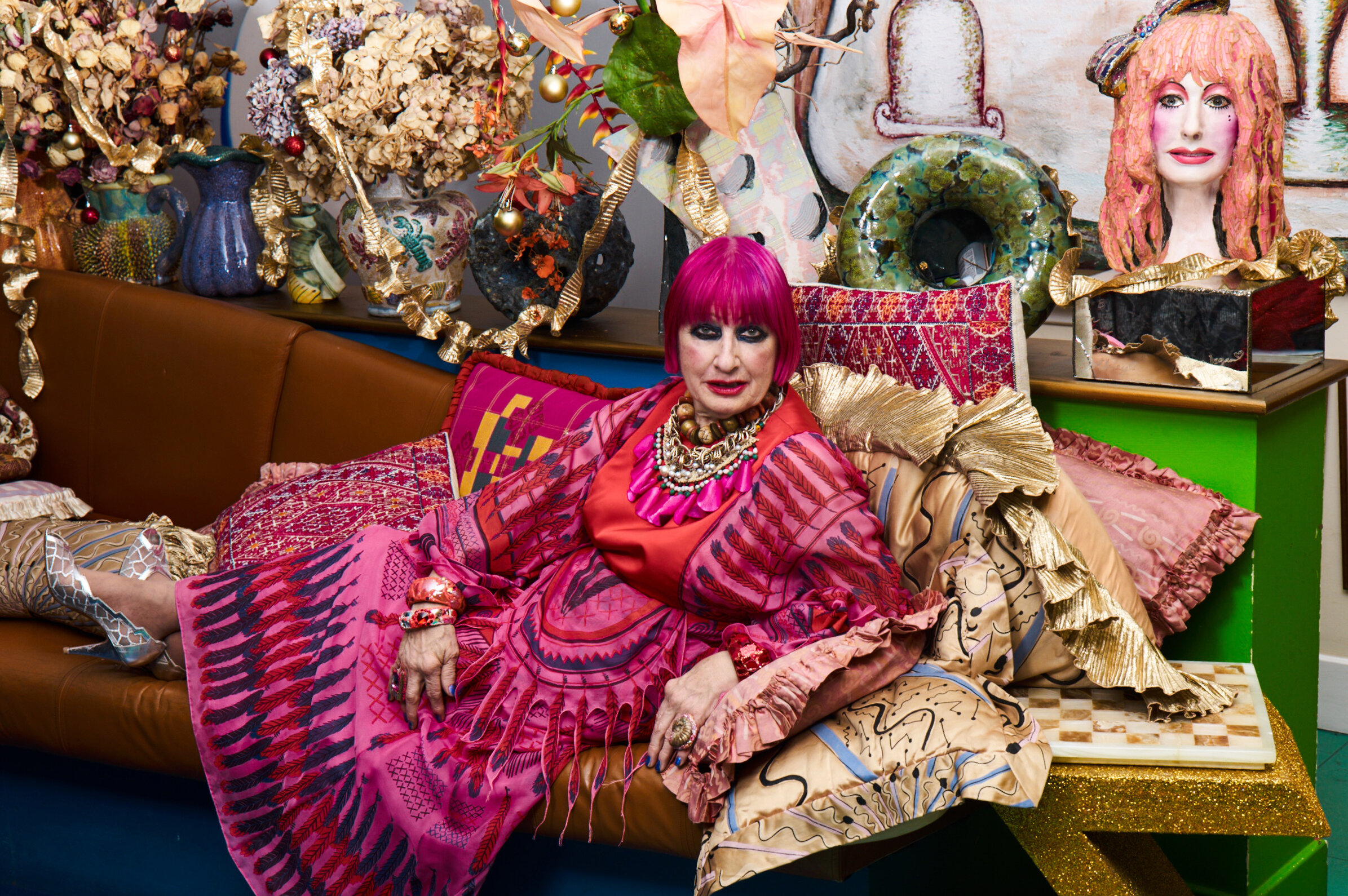 Zandra Rhodes photographed in her home by Ram Shergill