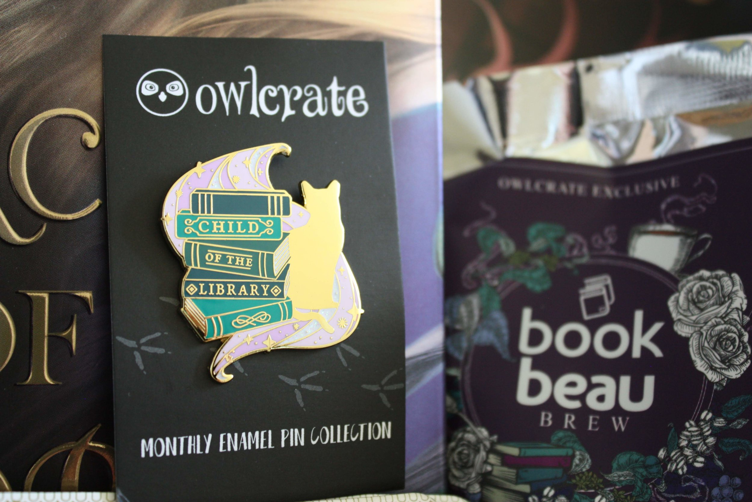 """The enamel pin. It reads """"Child of the library"""" and has a cat silhouette."""