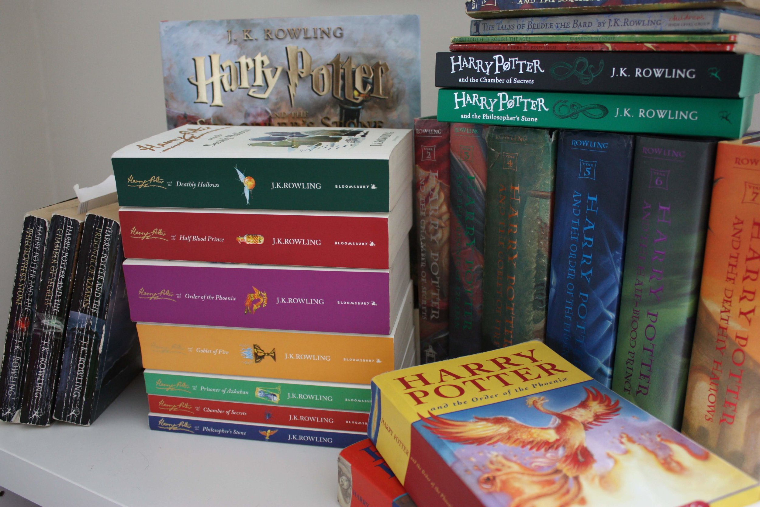 Most of my collection of Harry Potter books. A few are missing including my odd Spanish copy of Goblet of Fire. I can't read a word of it.