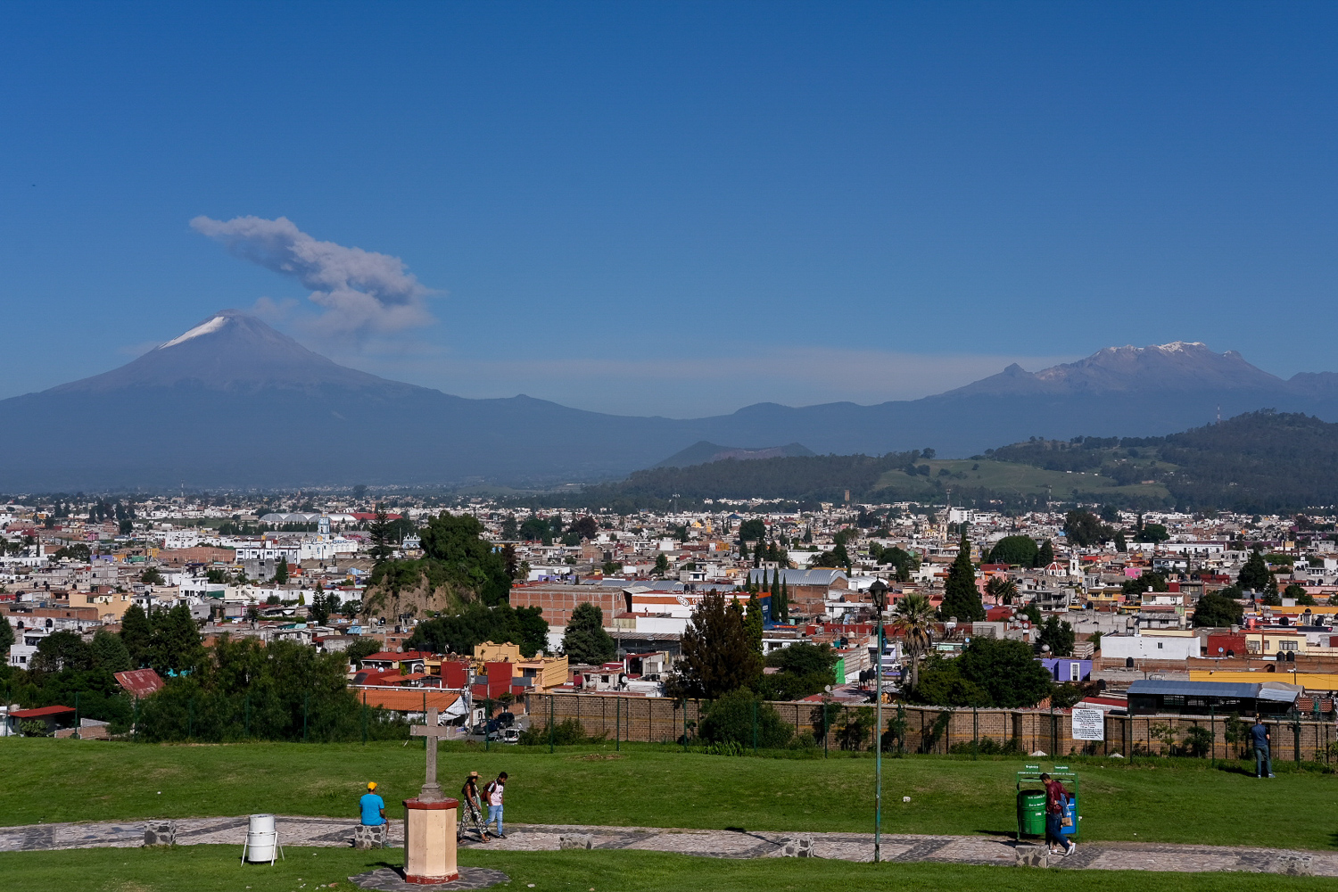This was the view our team enjoyed in Cholula, the oldest inhabited city in Mexico. The smoking peak on the left is Popocatéptl and the group of snow-capped peaks on the right is Izztacíhuatl. These volcanoes are two of the tallest in the hemisphere and are the inspiration for an  ancient story about two young lovers.  Our team took in this view as we stood on what remains of the Great Pyramid of Cholula, the pyramid with the largest base in the world. We learned that the original builders of the pyramid chose this site because it aligned with the four major volcanoes in the region. It was fascinating to see how city planning and spiritual beliefs were intertwined. Examples of this could be found all over Mexico City and Puebla. It made me think about how we should always be intentional about the ways we design our built environment.