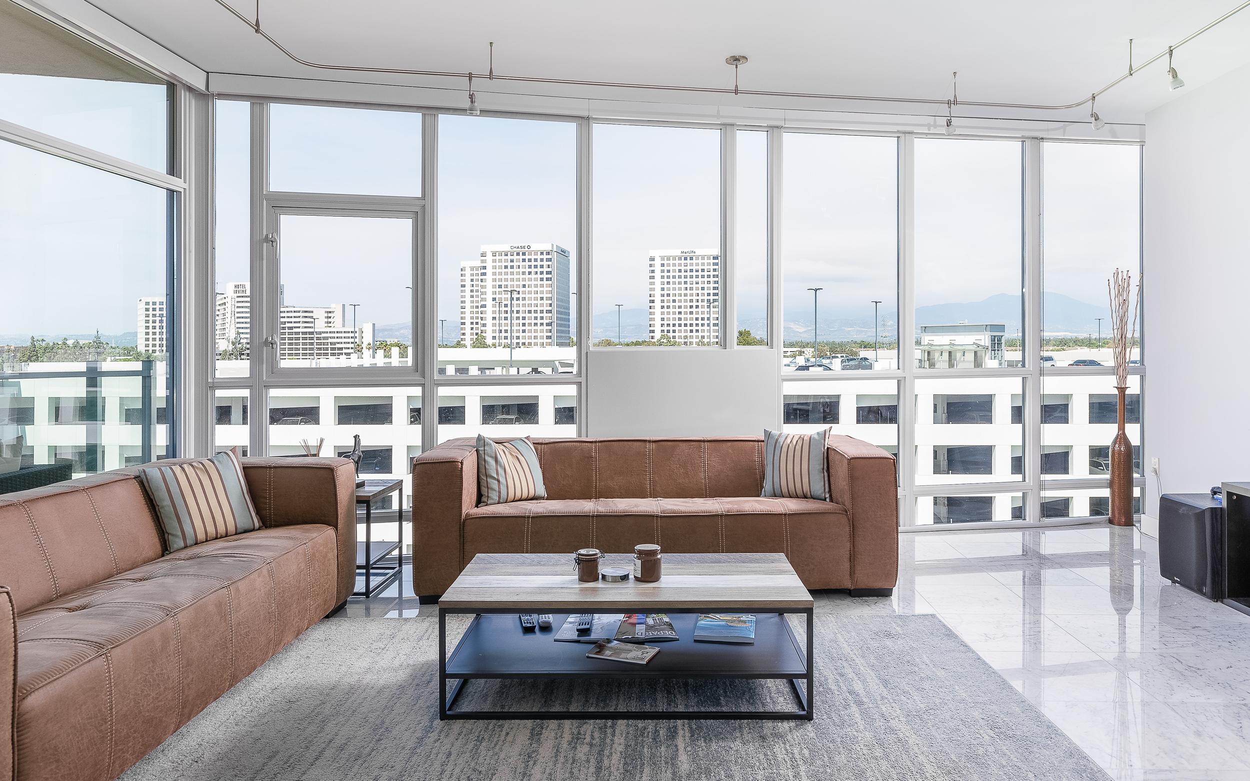 Irvine Real Estate Photography High Rise Condo Living Room Orange County