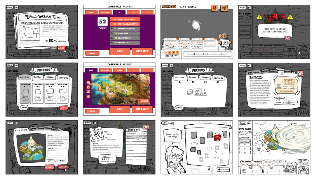 Select storyboards of game play and user experience design