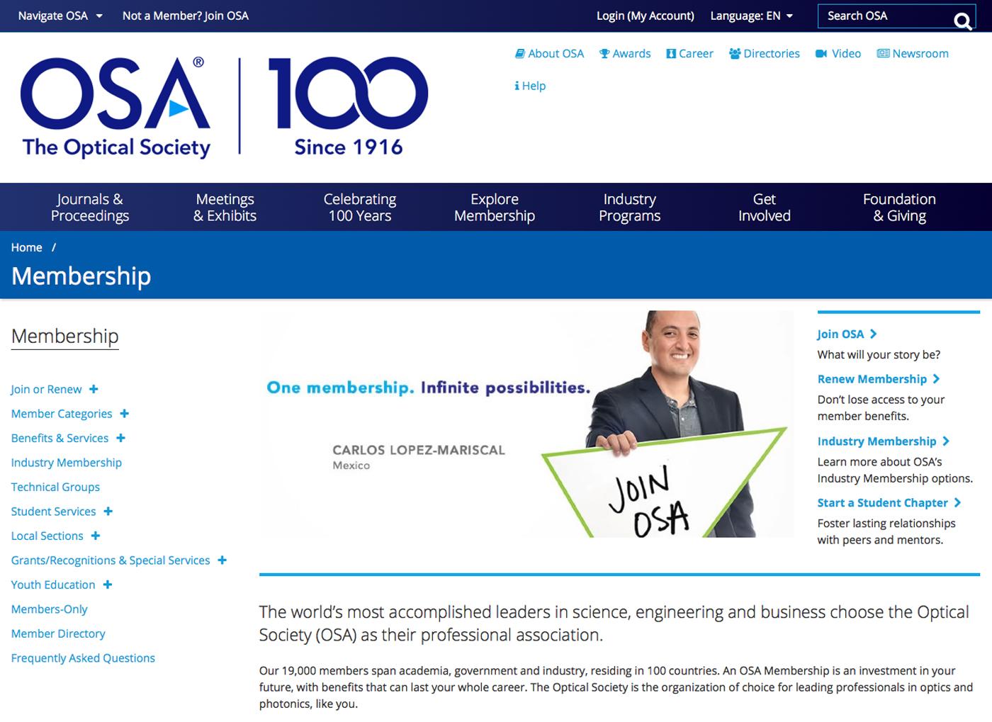 OSA Centennial Microsite