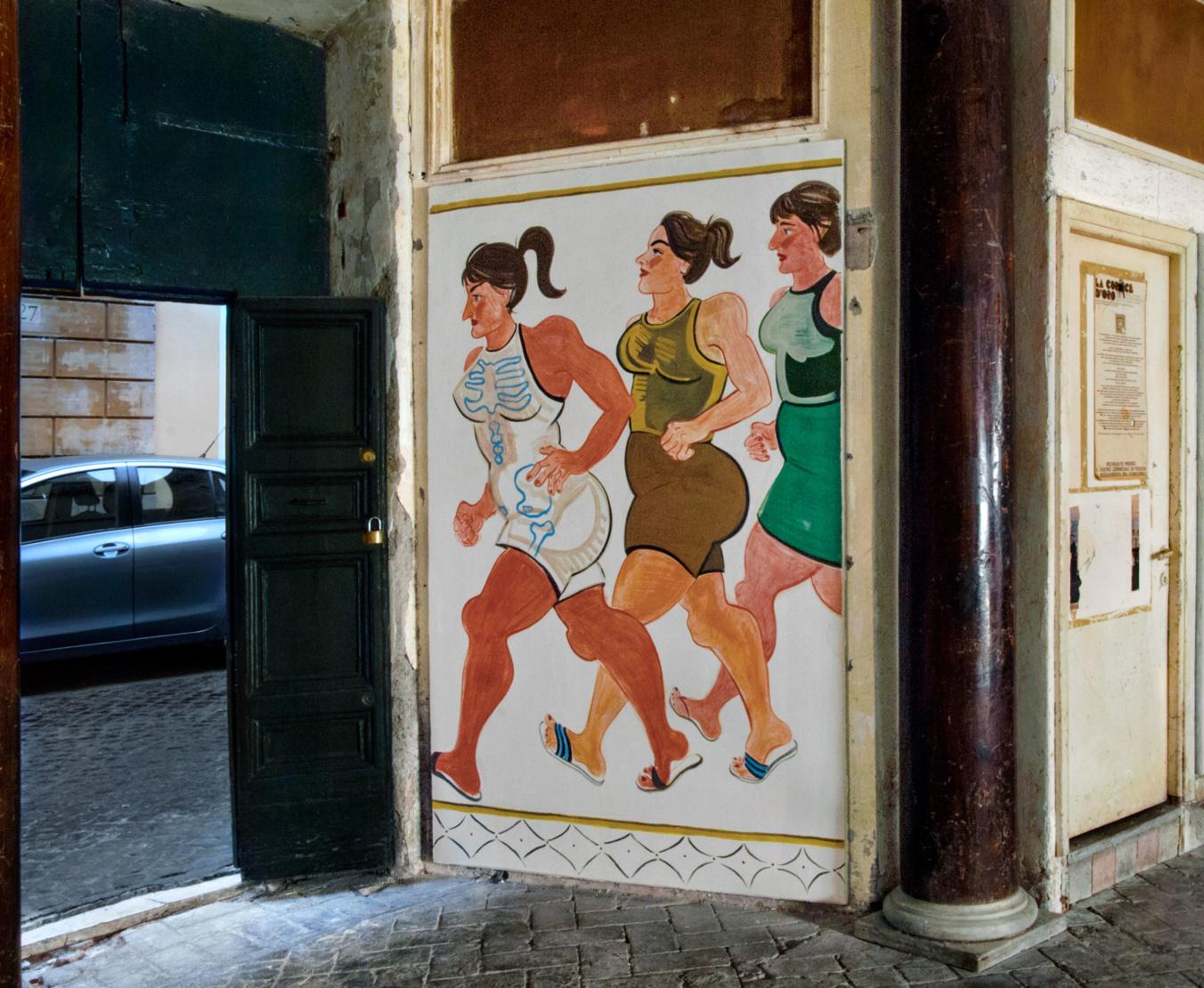 EXIT IN FLIP FLOPS , 2016. INSTALLATION VIEW OF VANITAS AT SANT'ANDREA DE SCAPHIS, ROME DEC 14 – JAN 28, 2016. COURTESY OF THE ARTIST AND GAVIN BROWN'S ENTERPRISE, NEW YORK/ROME ©ELLA KRUGLYANSKAYA, 2018.