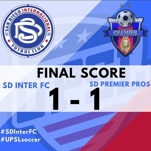 Final score of 1-1 after a hard fought game vs @sdpremieracademy_sc  Thank you to the fans for all their support!  Support us as we visit @psc_combine on Sunday Sept29th at 7pm in Monte Vista High for another exciting UPSL match up!