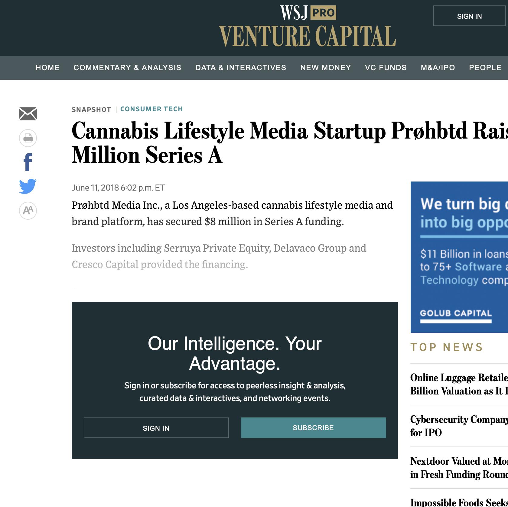 Cannabis Lifestyle Media Startup Prøhbtd Raises $8M Series A -