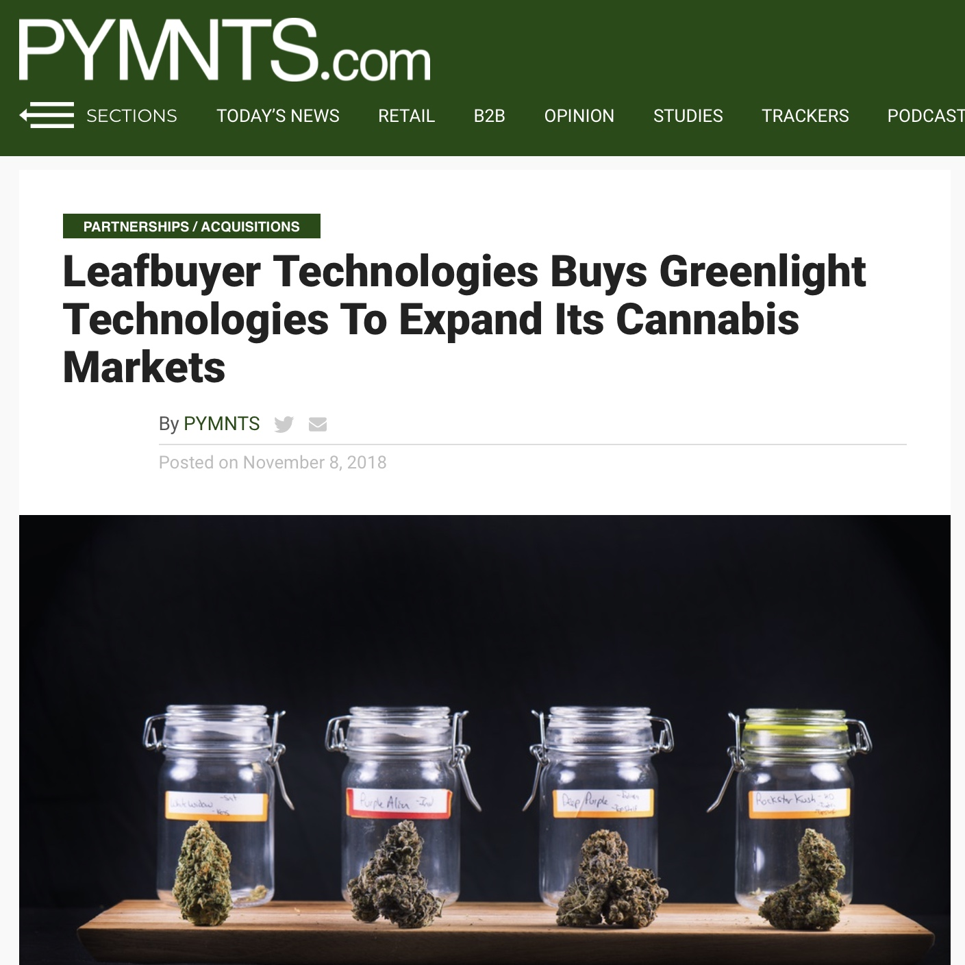 Leafbuyer Buys Greenlight Technologies To Expand Cannabis Markets -
