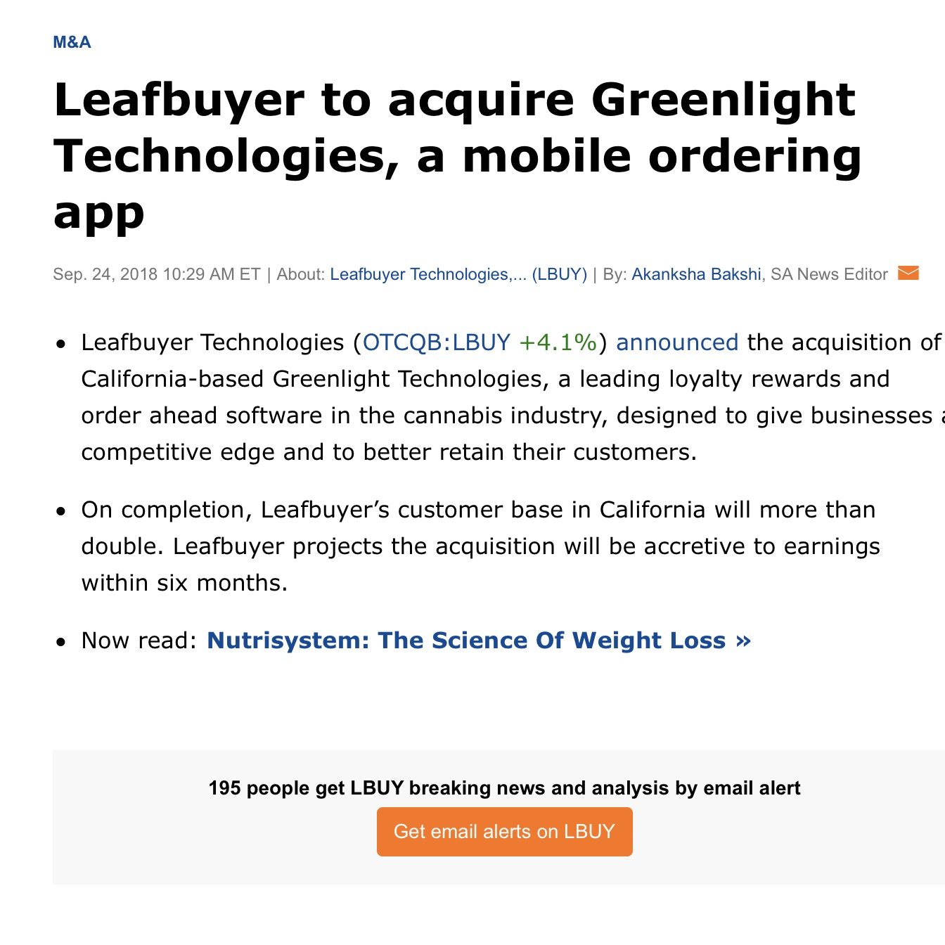Leafbuyer to acquire Greenlight Technologies, a mobile ordering app -