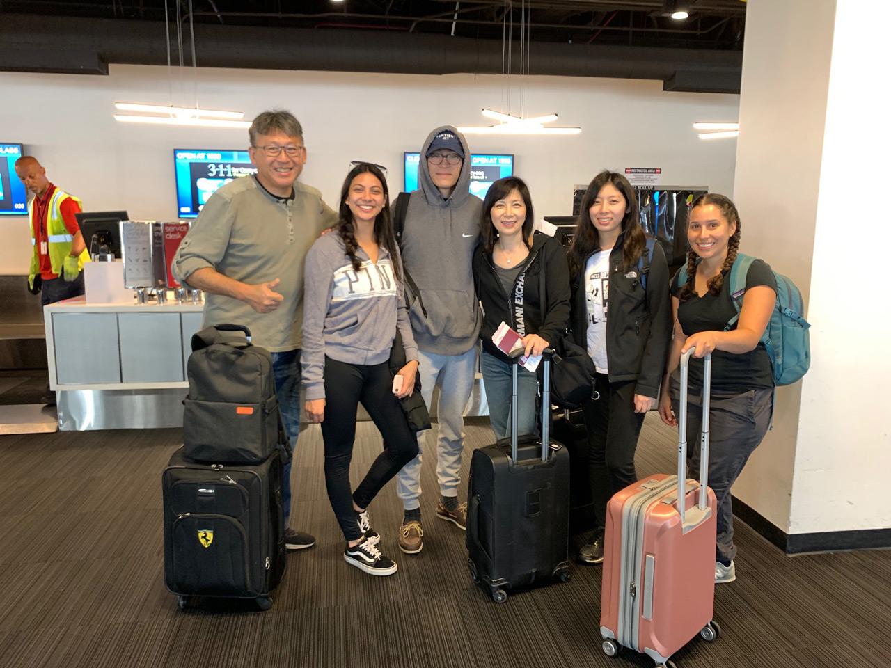 July 24: Our dental team at the airport ready for our 13 hour trip to Asuncion, Paraguay  Dr. Stephen Goei (oral surgeon), Denise (dental assistant), Adrian Goei (dental triage), Dr. Gin Goei (dentist), Megan Goei (surgery assistant), Erin (surgery assistant)