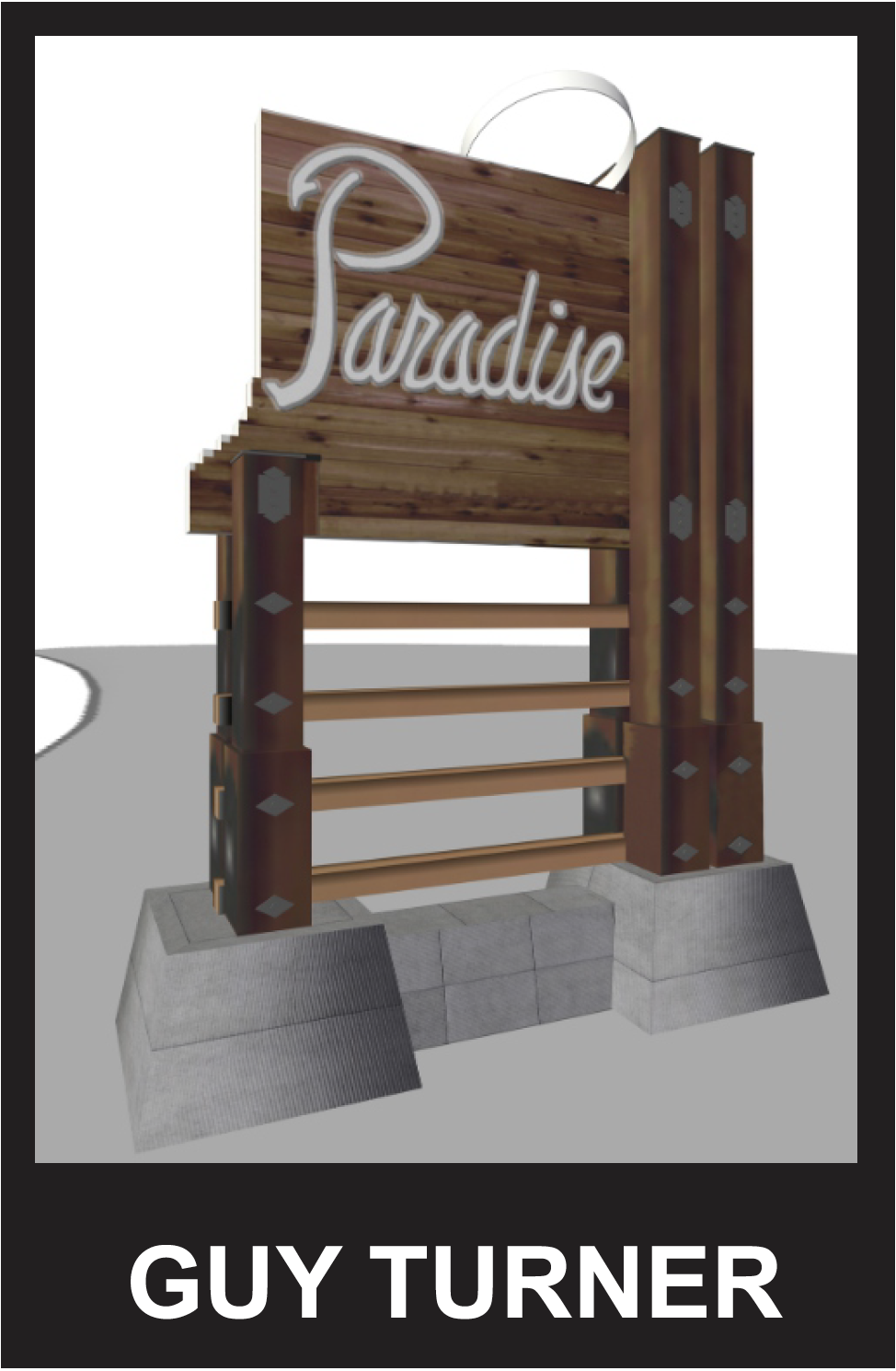 "- Similar design to the original ""Welcome to Paradise"" sign."