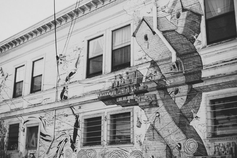 San Francisco, black and white, Mission District mural