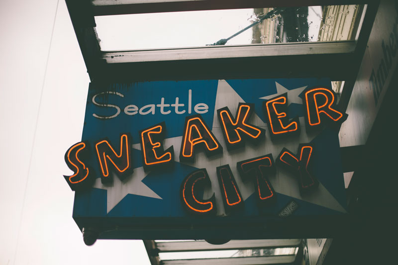 Seattle Washington Sneaker City signage