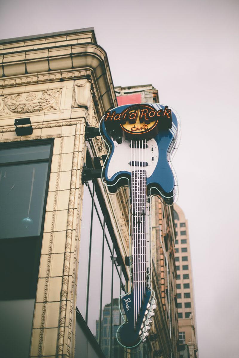 Seattle Washington Hard Rock Cafe signage
