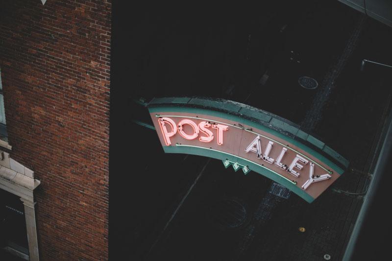 Seattle Washington post alley signage