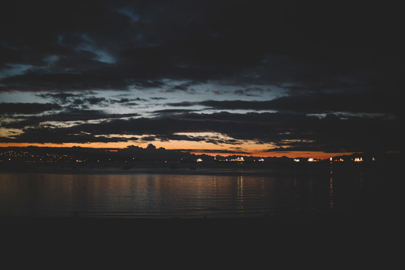 Vancouver BC Sunset Beach at Night