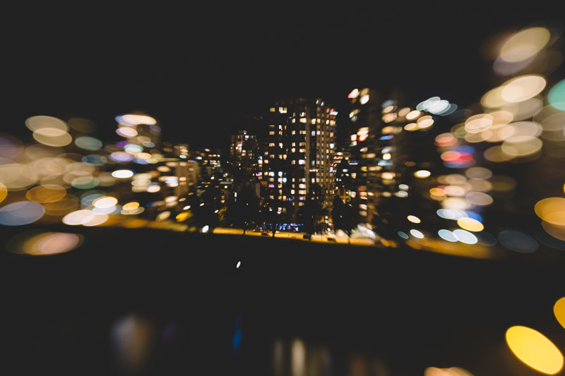 lensbaby photography burrard bridge at night