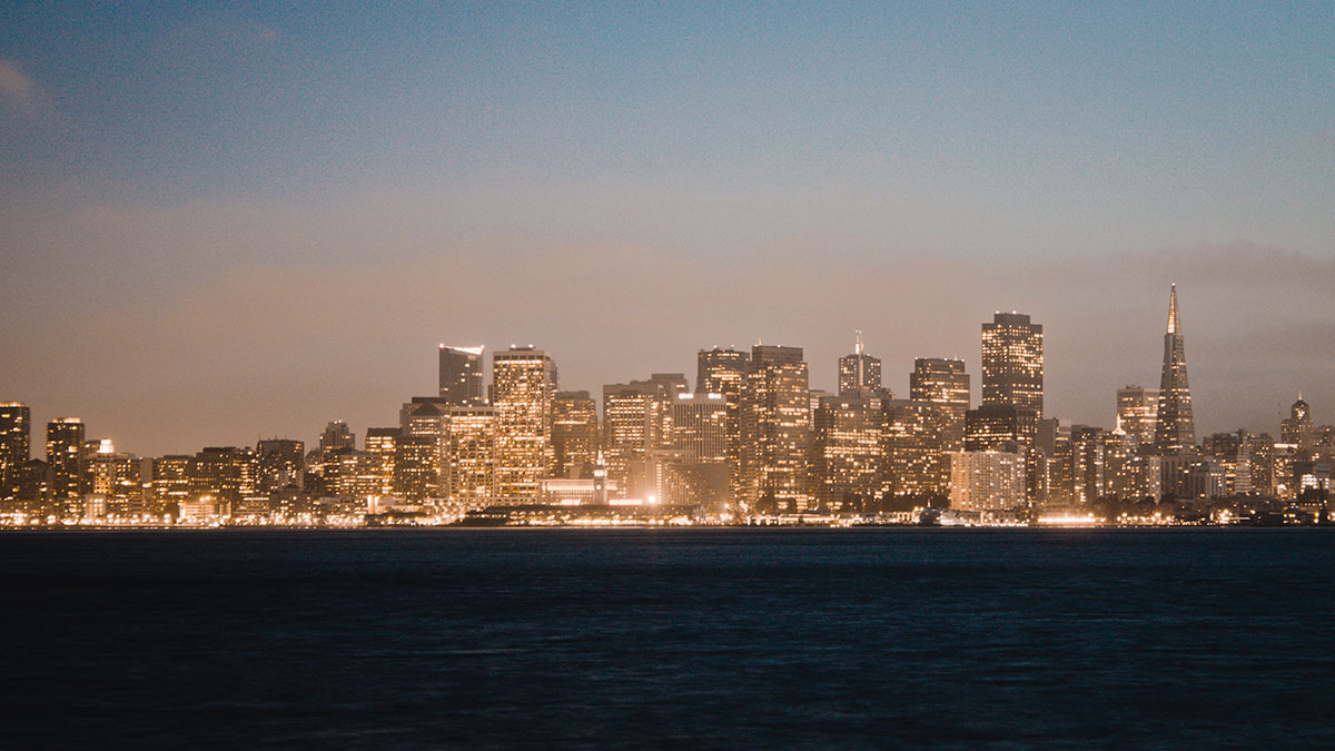 San Francisco night cityscape from Treasure Island