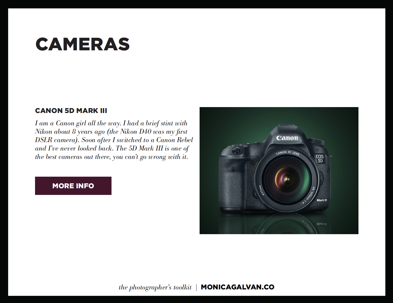Monica Galvan the Photographer's Toolkit the gear I shoot with