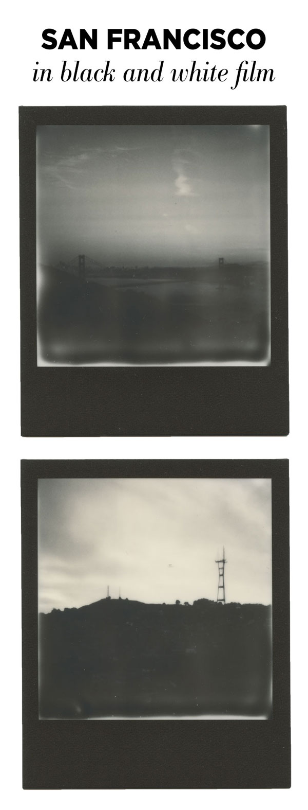 San Francisco in black and white Polaroid 600 type film