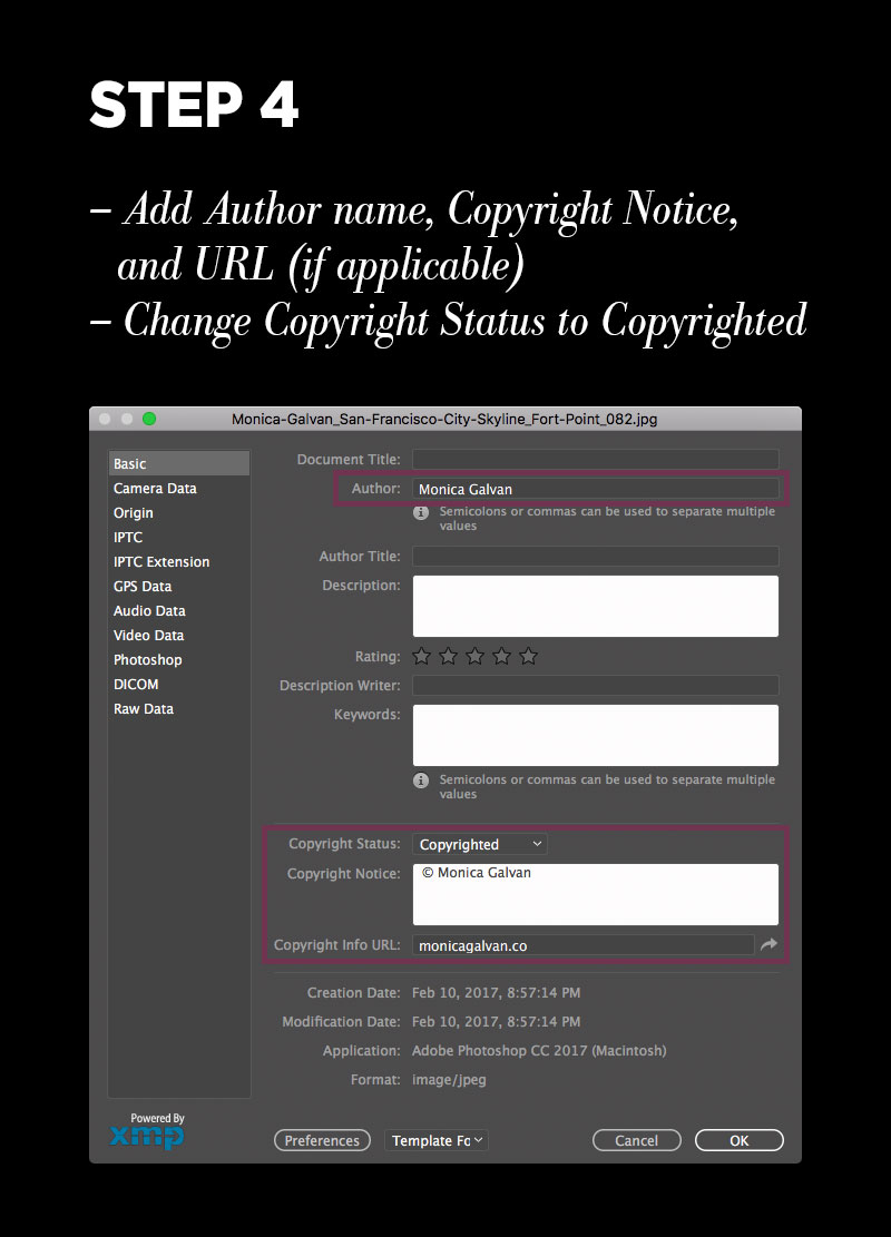 Protect your photos with Photoshop metadata: Step 4 – Add author name, copyright notice, and URL