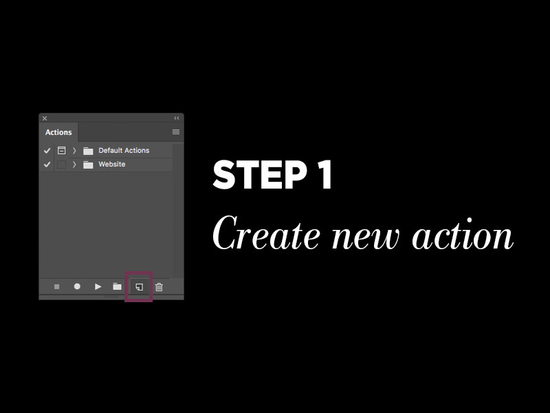 Protect your photos with Photoshop metadata: Step 1 – Create new Photoshop action