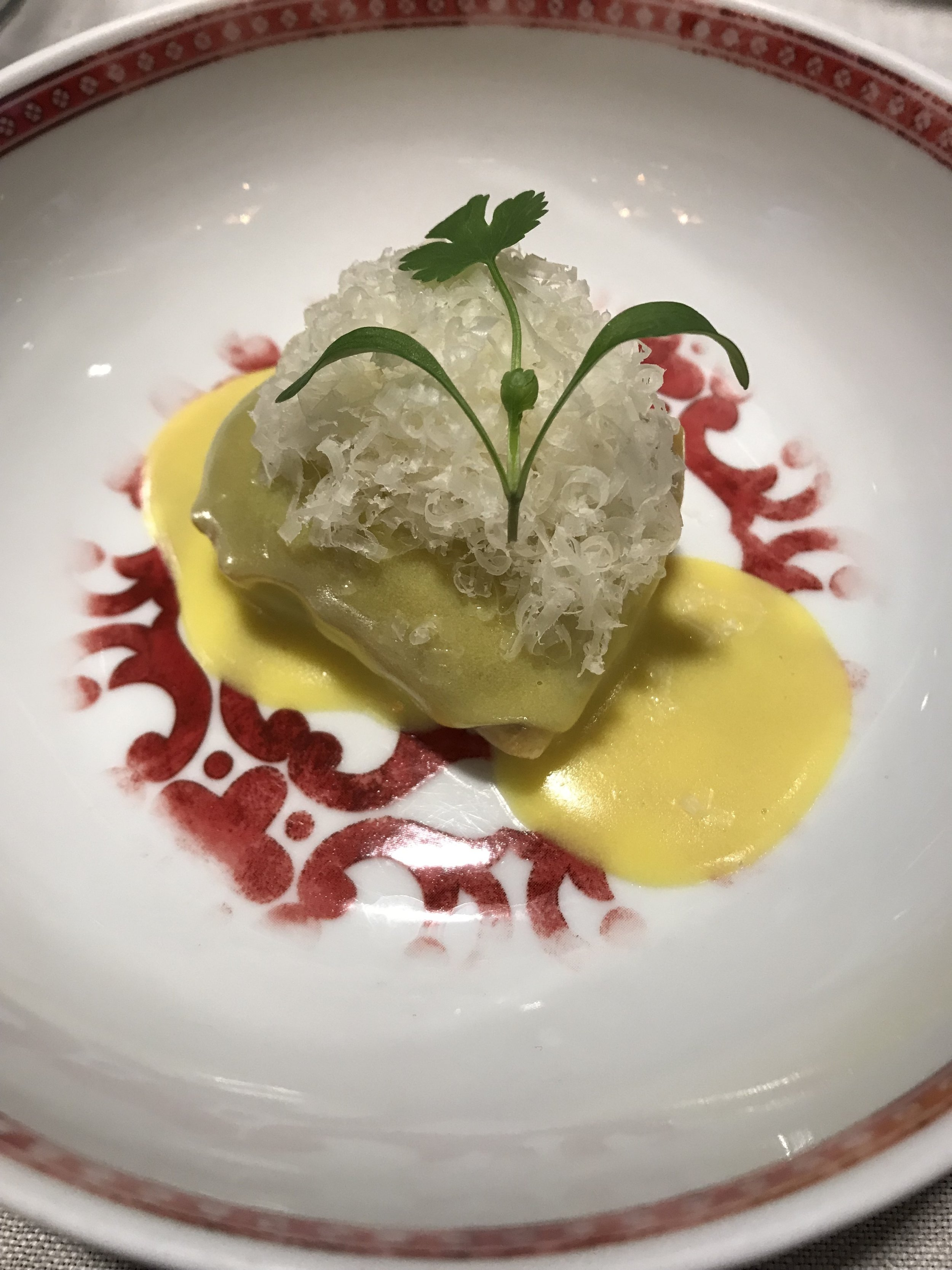 Second Course : Lobster Ravioli with a champagne and saffron sauce… need I say more?