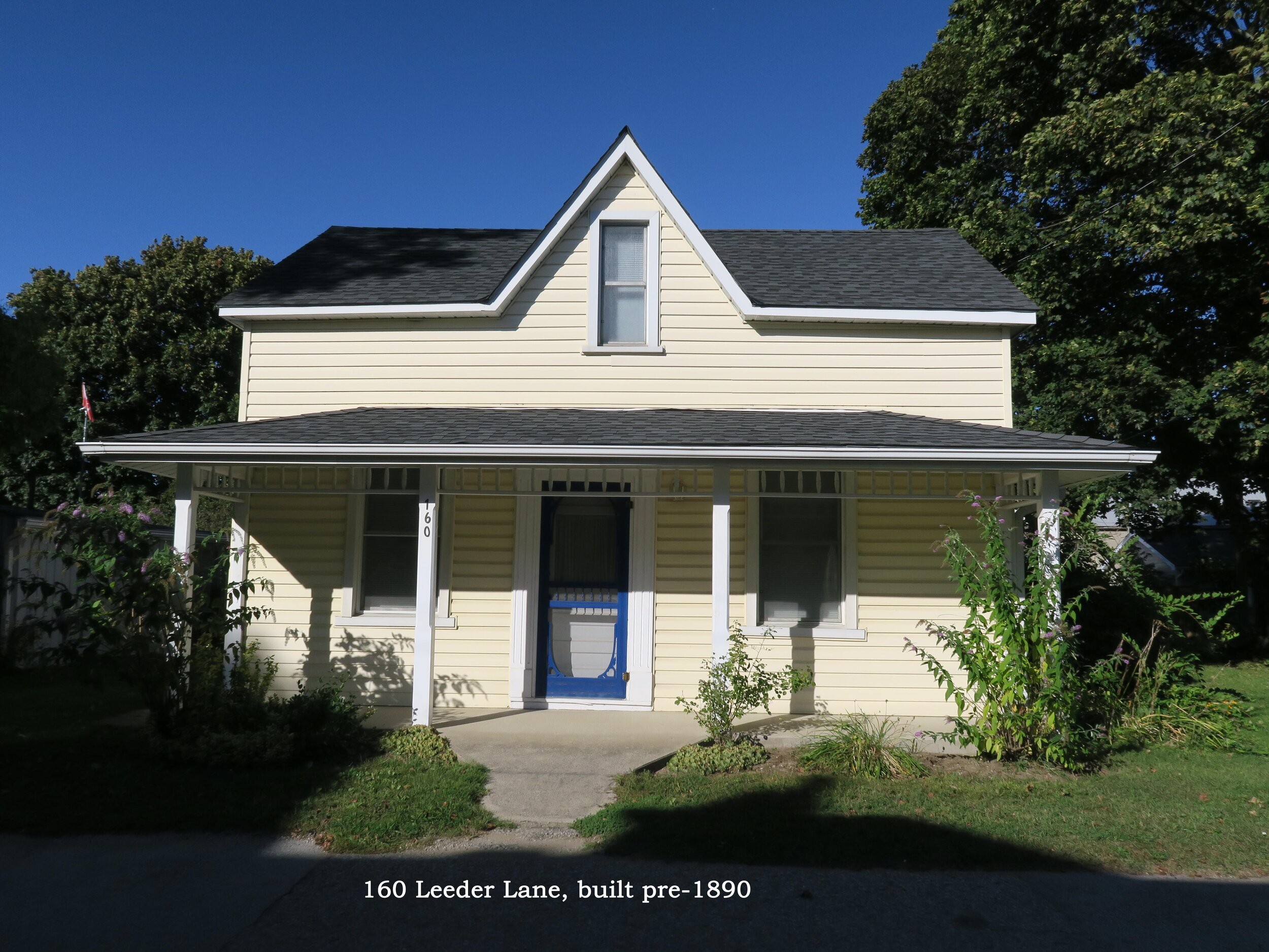 160 Leeder Lane is visible on the 1890 Fire Insurance map, suggesting it was built before 1890.