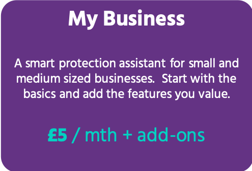 Get protected - * Unlimited users* Unlimited cloud storage for documents* Online supportFEATURES INCLUDED:- SMART DASHBOARD - Monitor your business and get smart alerts- MY BUSINESS PROFILE - How the world sees you- FINANCIAL SUMMARY - Key financials + updates from your accounts- PEOPLE MANAGER - Create employee records- SECURITY - Cyber health monitoring + improvement recommendations- REPUTATION - Summary of your company's online ratings- INSURANCE HUB - Access products, documents and cover summary- PARTNERSHIPS - Connect with your brokers and advisersADDITIONAL FEATURES:- COMPANY CHECKER - from £35/mth- TIME-OFF TRACKING - £5/mth- COMPLIANCE TOOL with document store - £5/mth- EMAIL BREACH MONITOR - £5/mth- CYBER DETAIL REPORTS for any company - £100/mth
