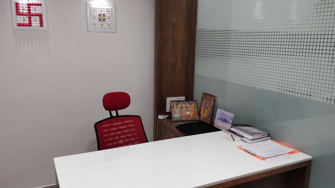 AT office for business growth.
