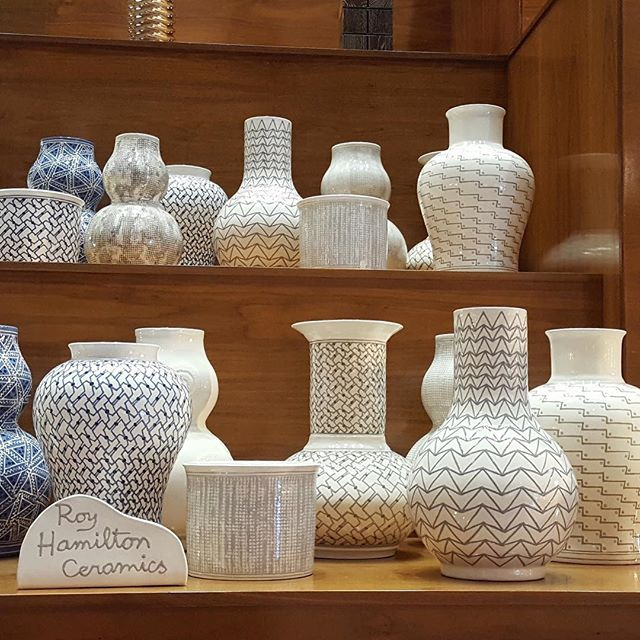 Dear friend Harry Hinson introduced me to Jerry Pair in the early nineties. The lovely partnership continues as illustrated by a terrific display in the Florida Showroom. #ceramics #design #homedecor #pattern #nyceramics #clay #sliptrail #beige #cobalt #royhamilton #jerrypair