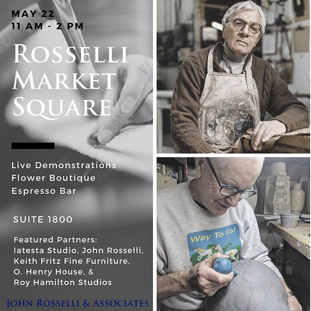 Last minute welcome to Rosselli Market Square tomorrow! See you at the D&D building May 22, 11AM - 2PM #showandtell #homedecor #surfacedesign #royhamilton #ceramics #nyceramics @johnrosselliassociates