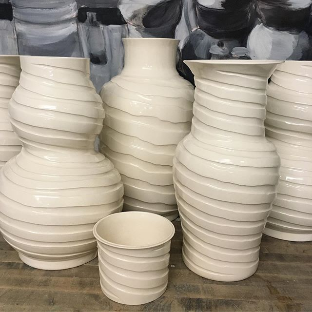 Summer is for Spiraling! Clean and fresh Cream Hot Wax Spirals will keep you cool as the heatwave spirals out of control, and are classic enough for the rest of the year! #spiral #hotwax #royhamilton #royhamiltonceramics #ceramics #nyceramics #homedecor #design #surfacedesign #lighting
