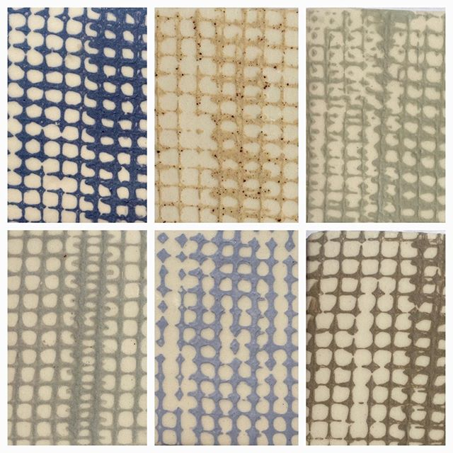 A sampling in Linen pattern using selections from the current color palette! Which is your personal favorite? Clockwise from the top: Cobalt, Speckled Beige, Light Celadon, Mushroom, Lavender, Pigeon. #colorsample #linen #pattern #homedecor #royhamiltonceramics #beige #lavender #color