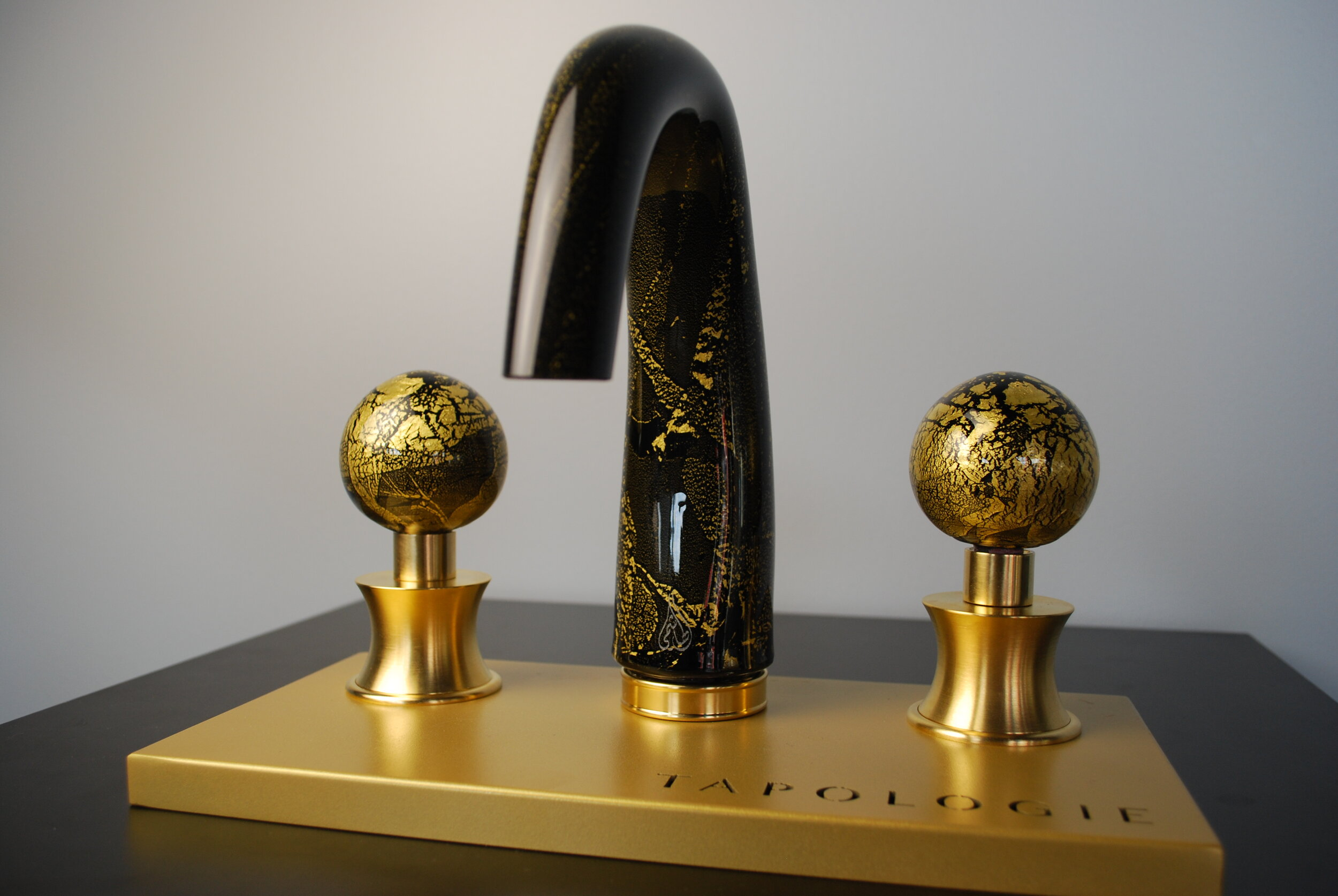 Black and Gold Glass Faucet