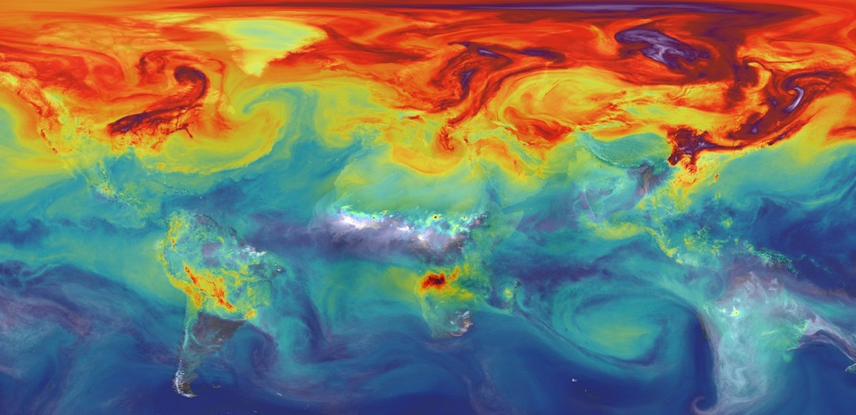 NASA computer simulation  of CO2 in Earth's  atmosphere .