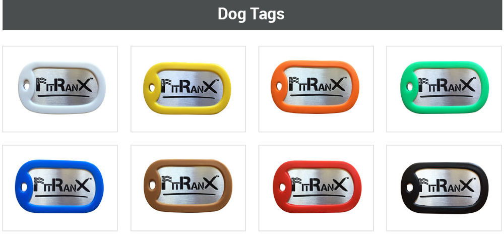 Levels Of Achievement - As you pass through the FitRanX system, you wear the color of your corresponding fitness level in RanX Band™ form or Dog Tag whenever you are at the facility or out in town.