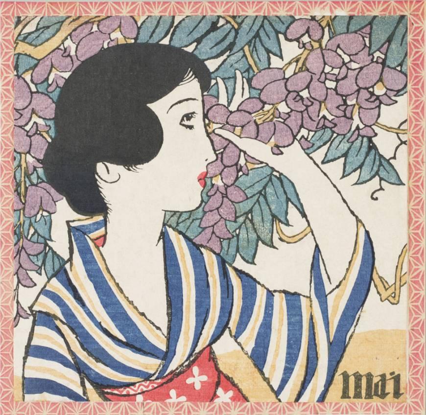 Tem quem aponte o trabalho de  Yumeji Takehisa  como pioneiro do kawaii. Pintor e poeta, ele também gostava de fazer ilustrações e eventualmente abriu a  Minatoya Ezoshiten , uma papelaria, em 1914. Nela, vendia bolsinhas, papel de carta, lenço - tudo com essas ilustrações que tinham apelo junto ao público feminino. Fonte da foto:  Japan Times
