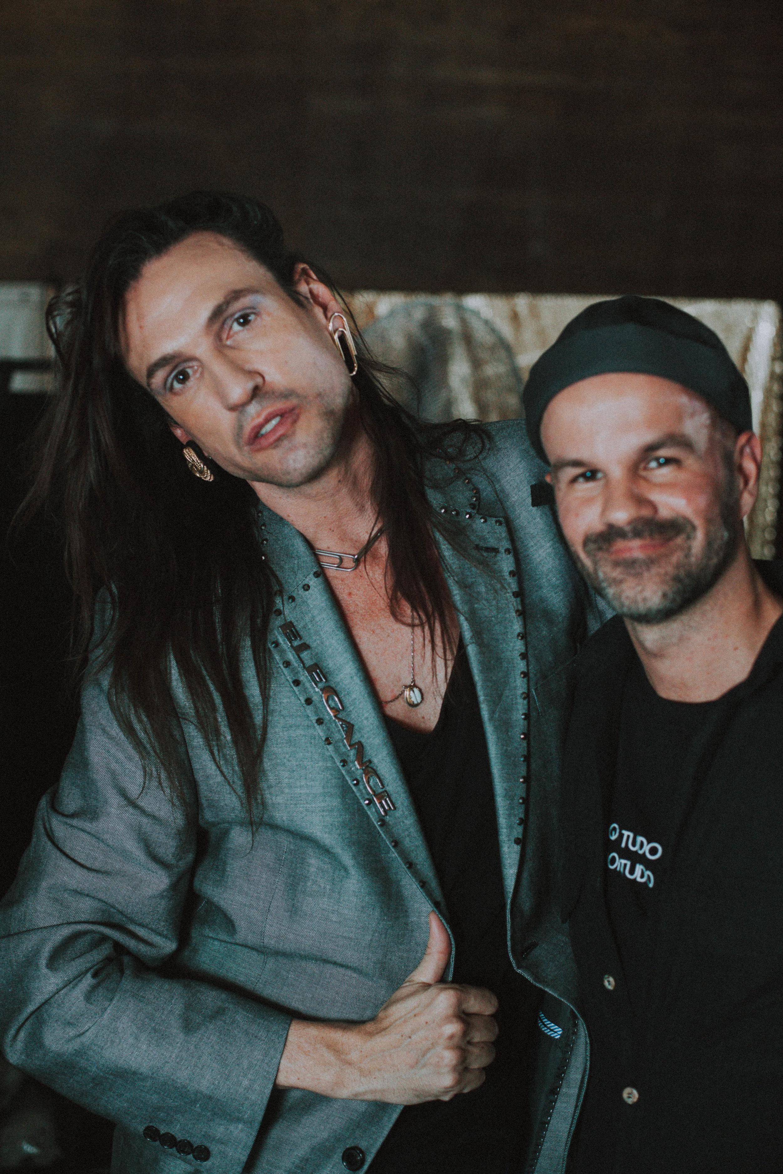 Dudu e André Carvalhal no backstage - Foto: Paulo Cândido