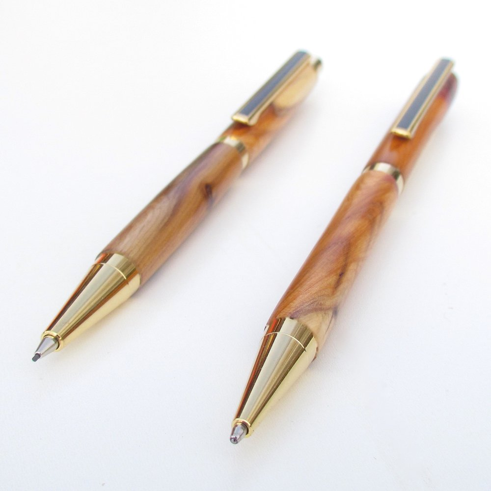 Wood Ballpoint Pens Wooden Pen from Purpleheart With 24 Carat Gold Plate Personalised Writing Gifts