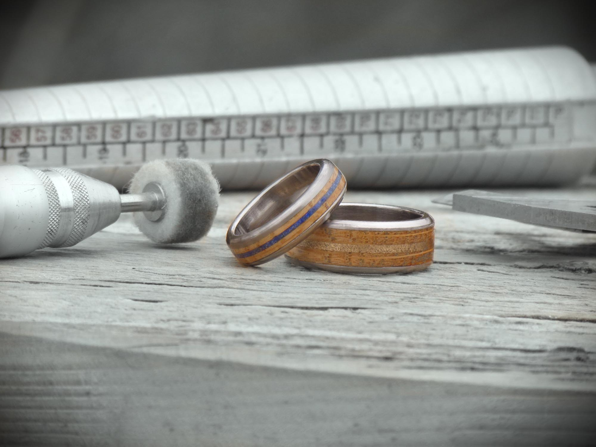 Wood And Titanium - Contemporary wood and metal rings