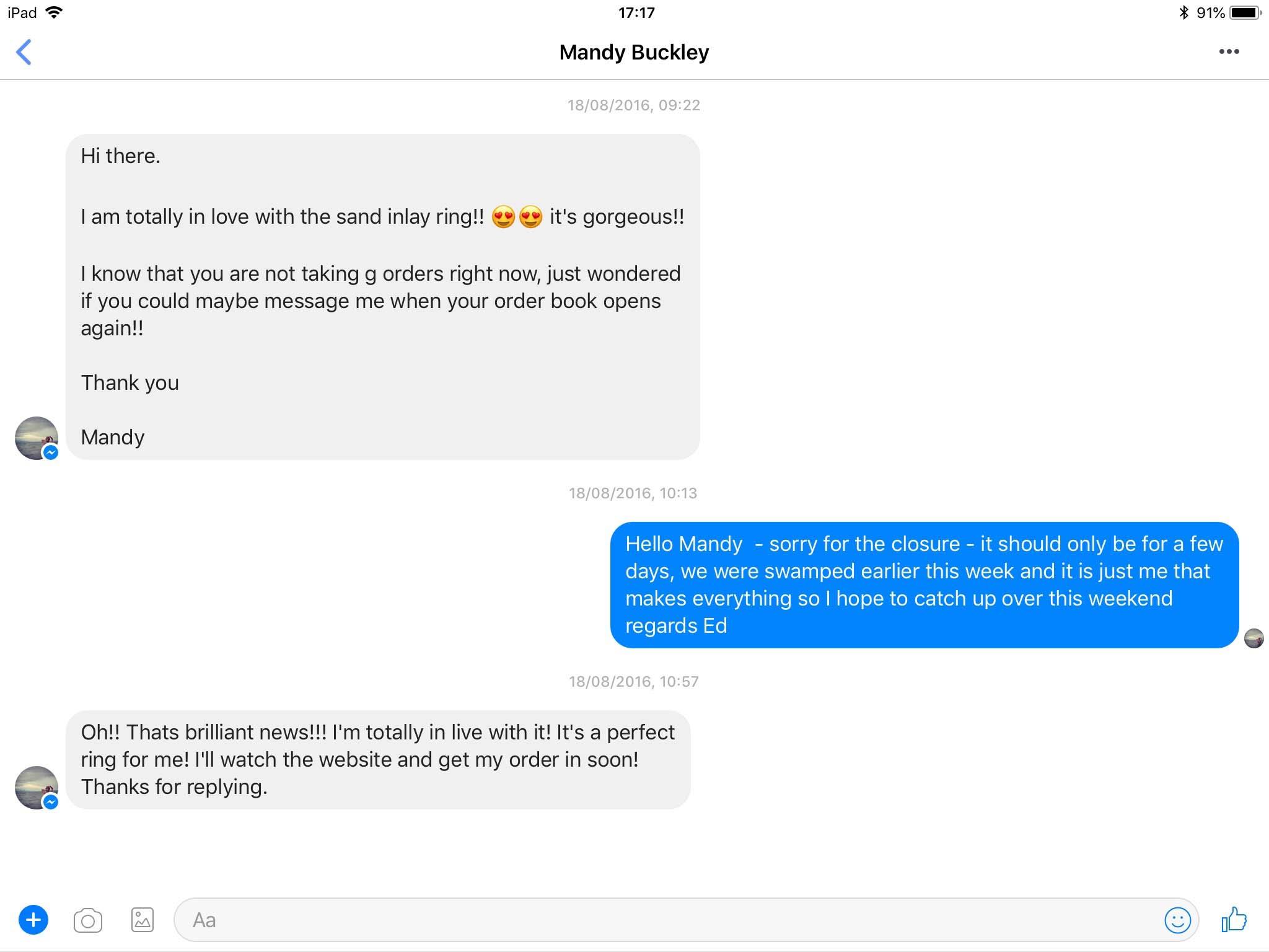 wooden ring customer feedback