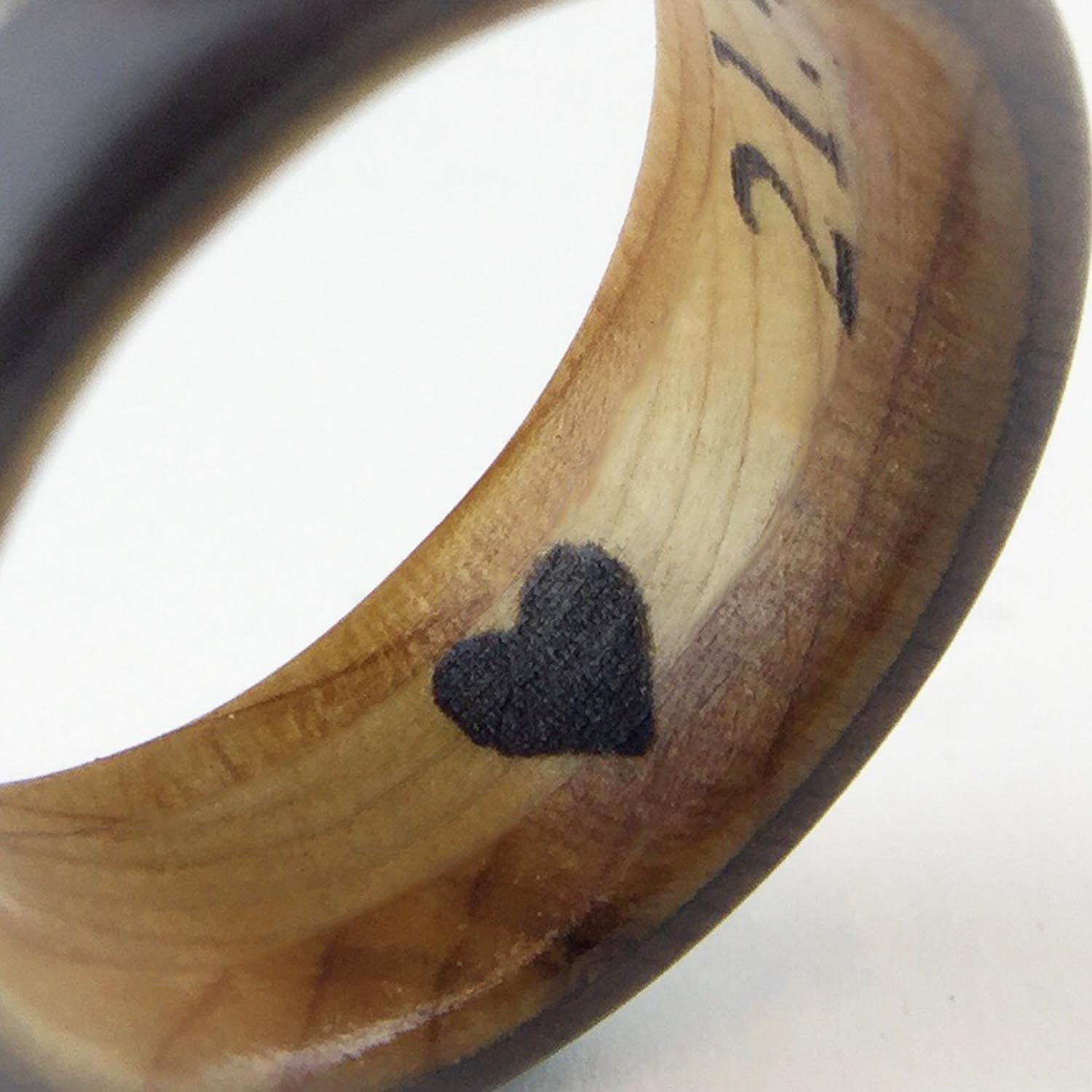 Wooden Ring Inscription - We can even apply a heart or infinity symbol