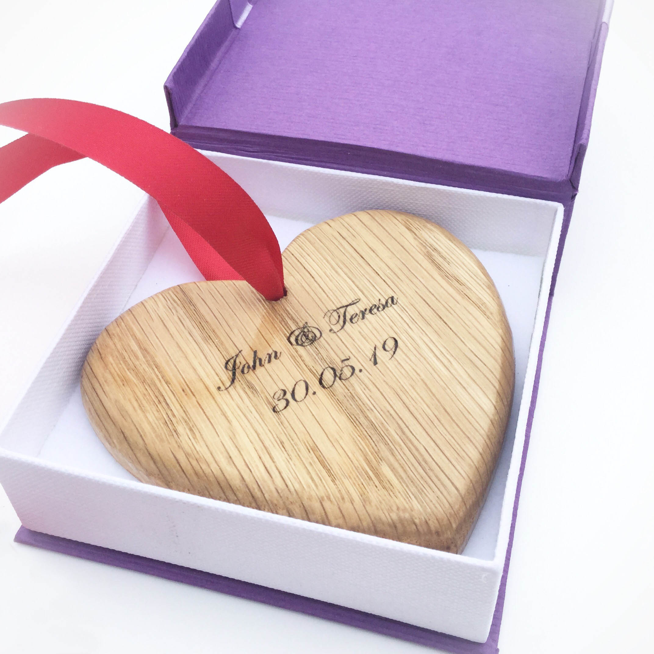 Personalised Scottish Oak Heart -