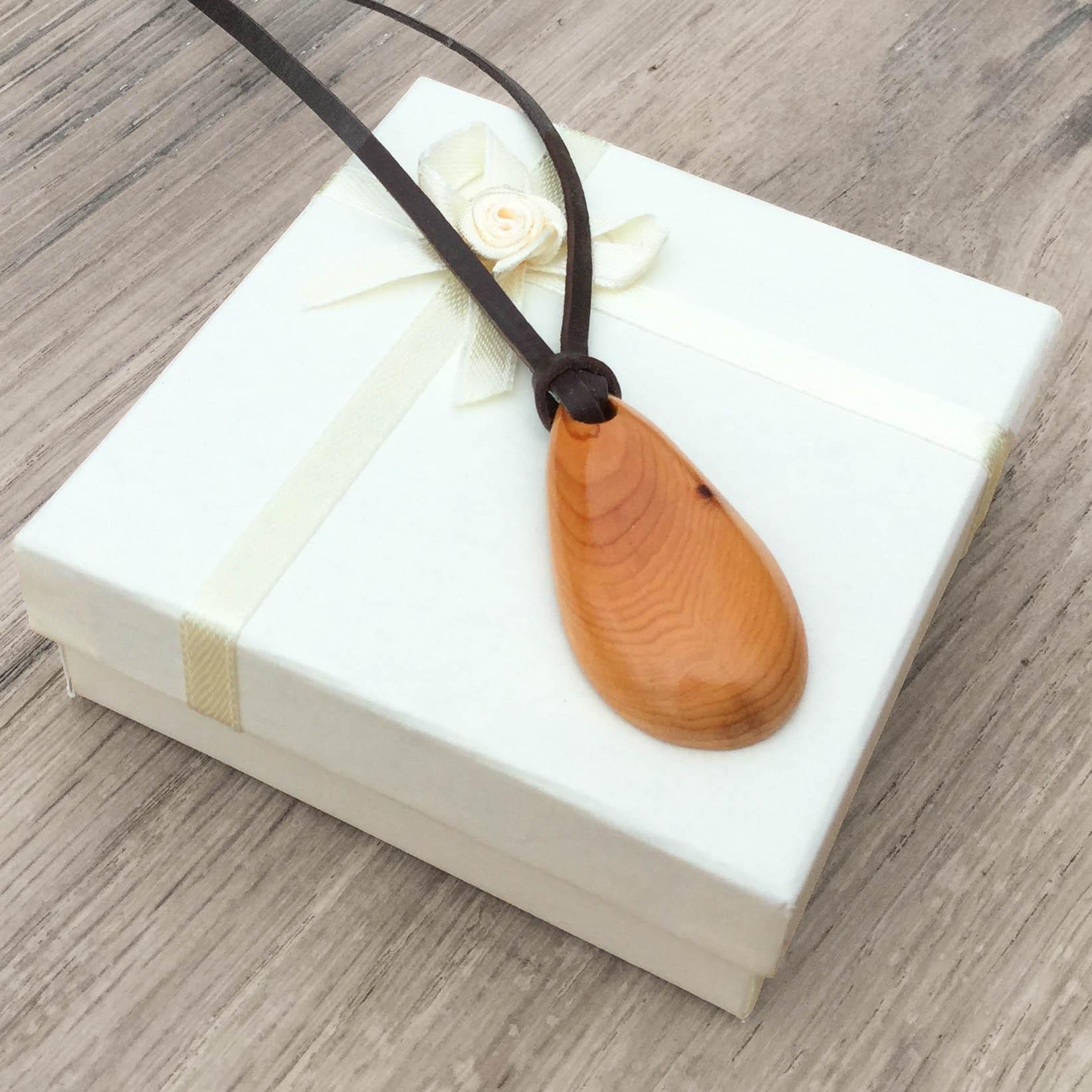 Teardrop wooden pendant