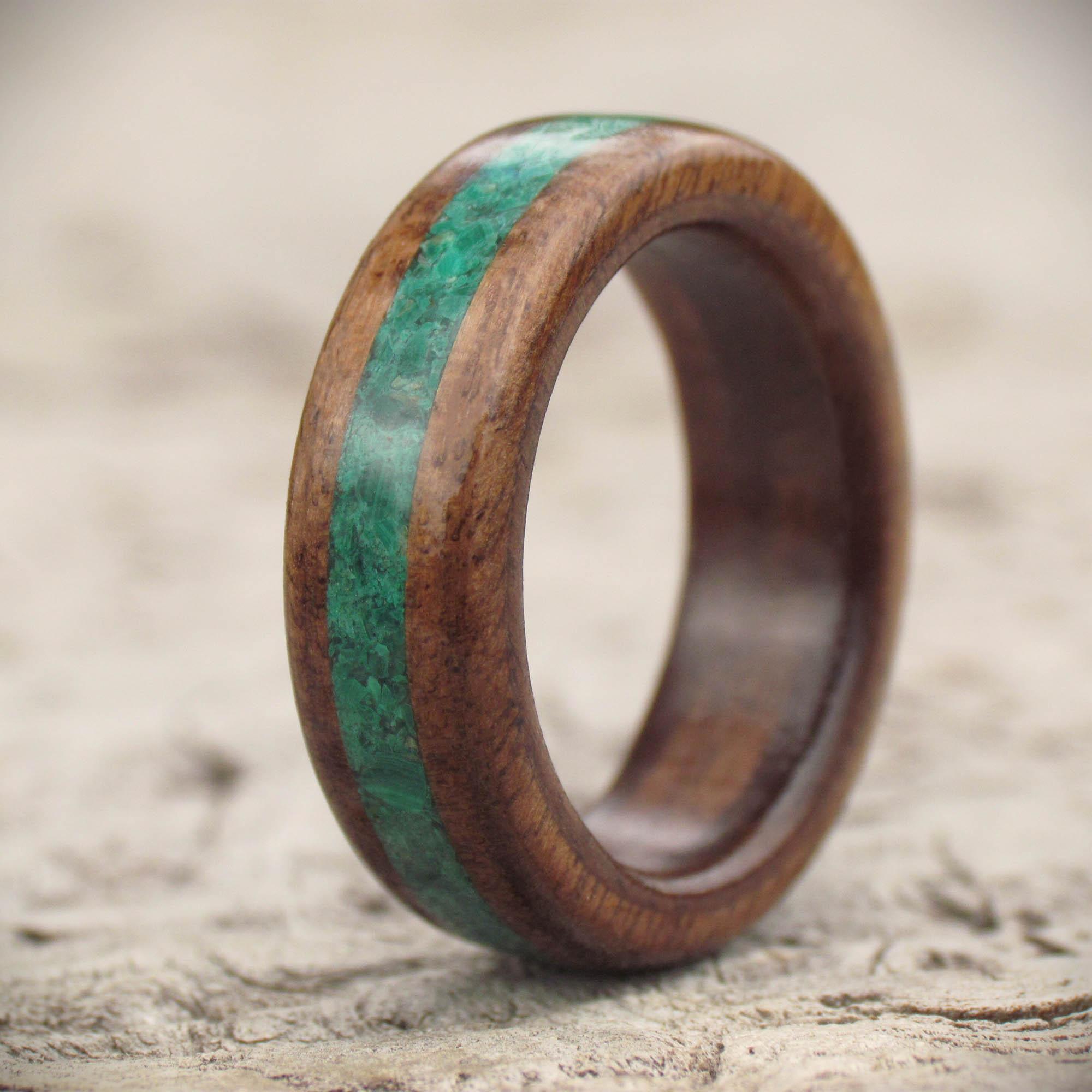 Walnut and gemstone wooden ring